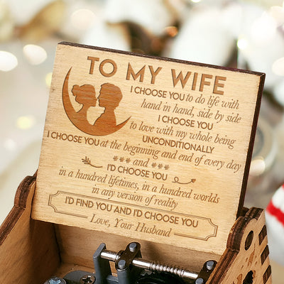 Husband To Wife - Hand In Hand Side By Side - Engraved Music Box