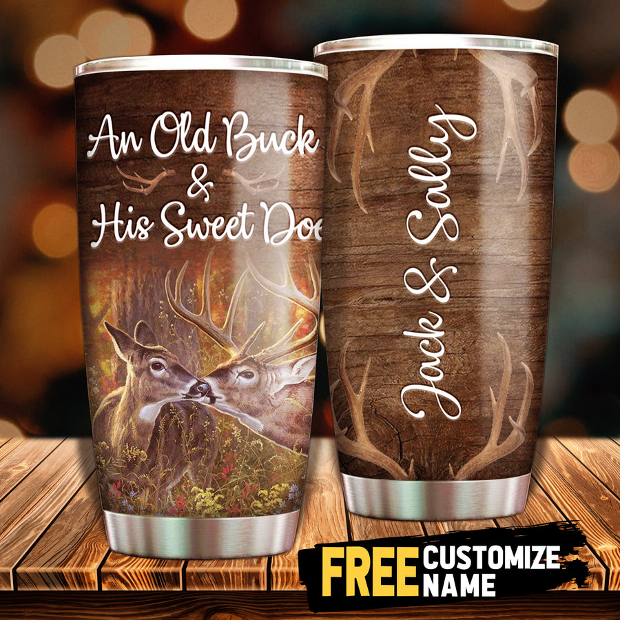 An old Buck & His Sweet Doe - Personalized Tumbler