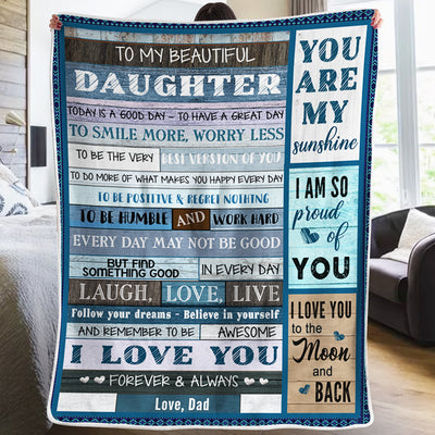 Dad To Daughter - Smile More, Worry Less - Blanket