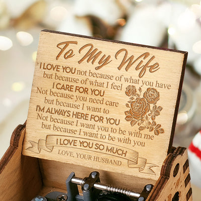Husband To Wife - I Care For You - Engraved Music Box