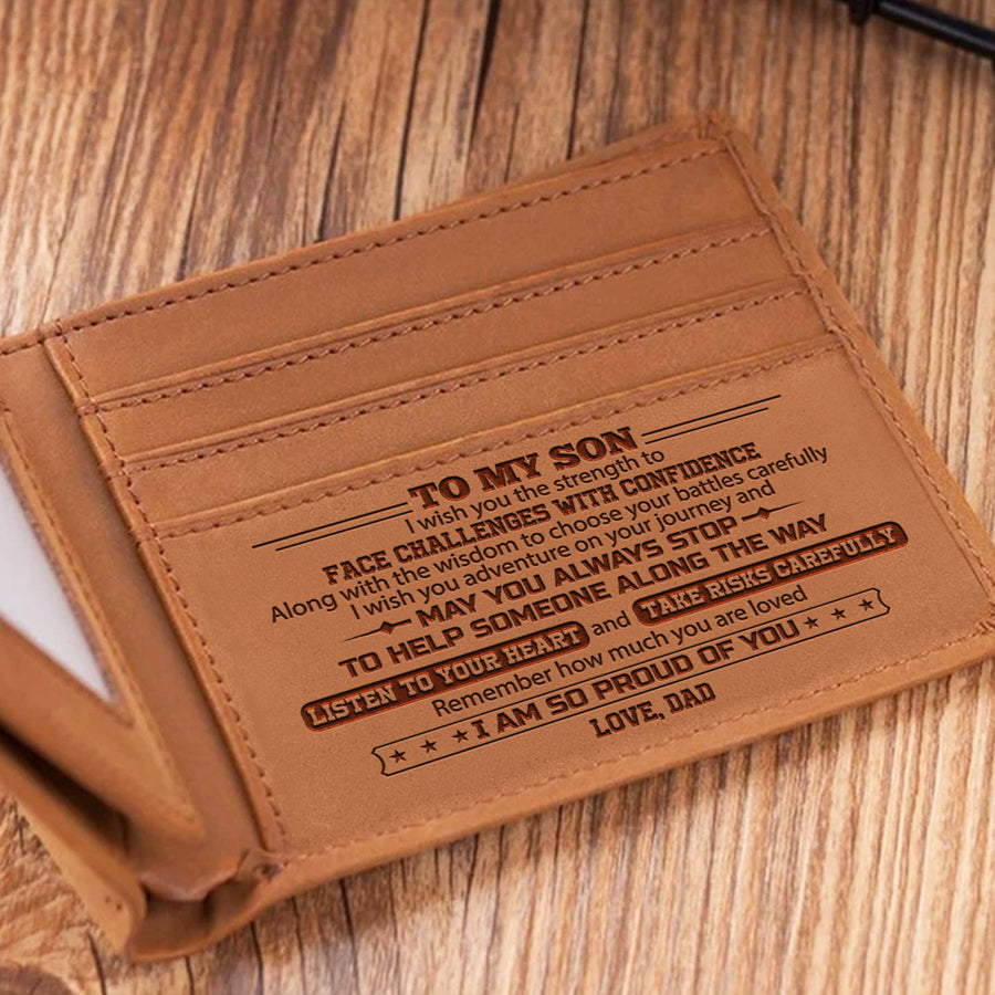 Dad To Son - Listen To Your Heart And Take Risks Carefully - Bifold Wallet