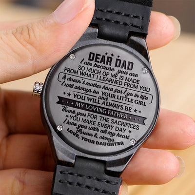 Daughter To Dad - I Love You With All My Heart - Wooden Watch