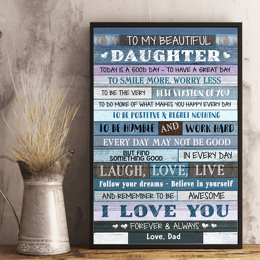 Dad To Daughter - Smile More Worry Less - Vertical Matte Posters