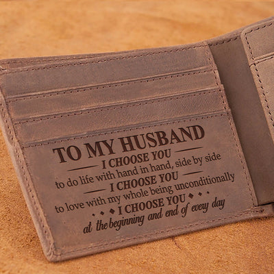Wife To Husband - I Choose You - Wallet With Clipper