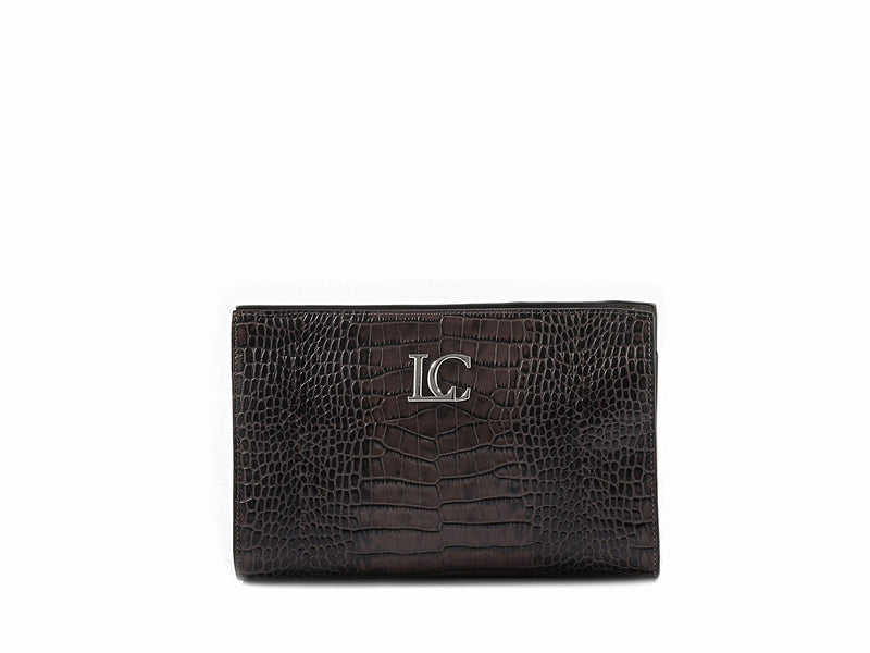 OPHELIA CLUTCH - Croc Marrone