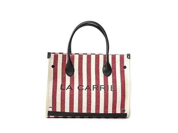 STRIPES TOTE IN RED - mcfcuratedboutique