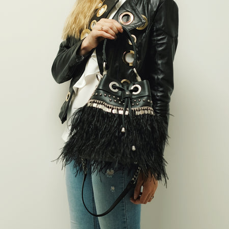 CHEYENNE FEATHER BUCKET in BLACK - mcfcuratedboutique