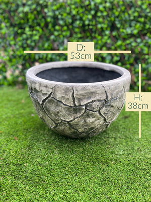 Open image in slideshow, Faux cracked stone bowl pot