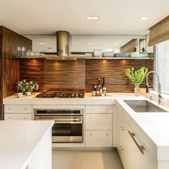 modern home. modern kitchen. stylish kitchen. trendy kitchen all white and wood accents