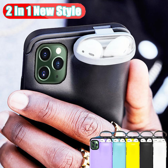 Iphone case with built-in AirPods holder