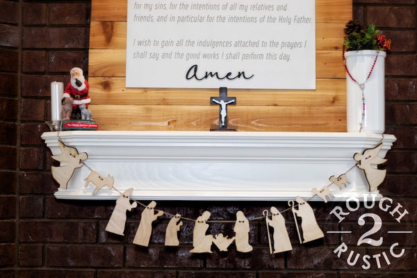 Natural Wood Nativity Garland