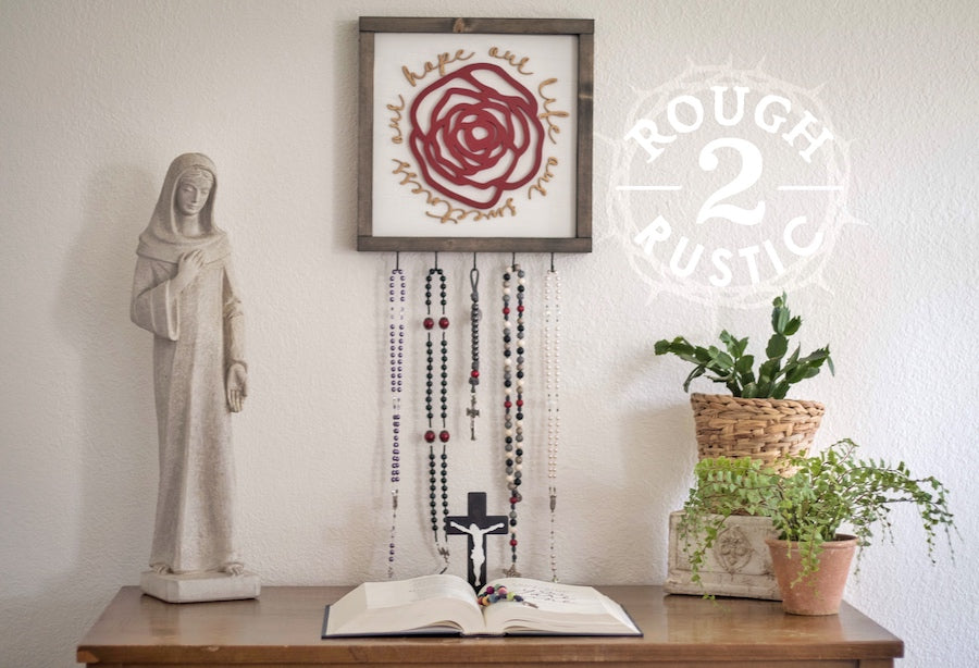 Red/Gold/White Our Life Our Sweetness Our Hope (Hail, Holy Queen) Rose Rosary Hanger