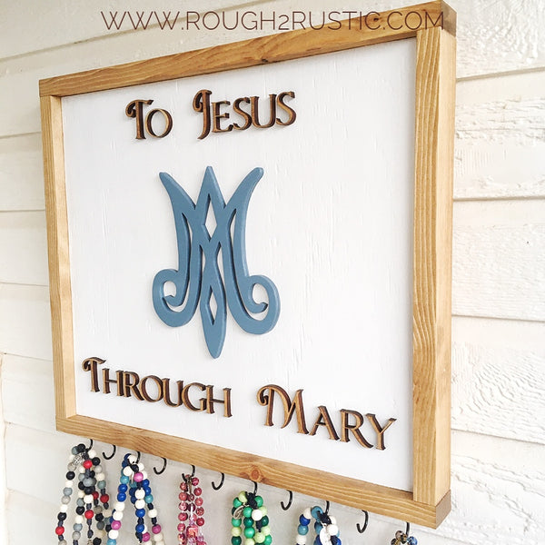 "To Jesus Through Mary Auspice Maria ""Under the Protection of Mary"" Family Rosary Hanger"