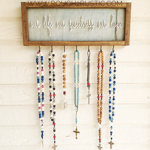 Blue Denim/White/Brown Our Life Our Sweetness Our Hope (Hail, Holy Queen) Rosary Hanger