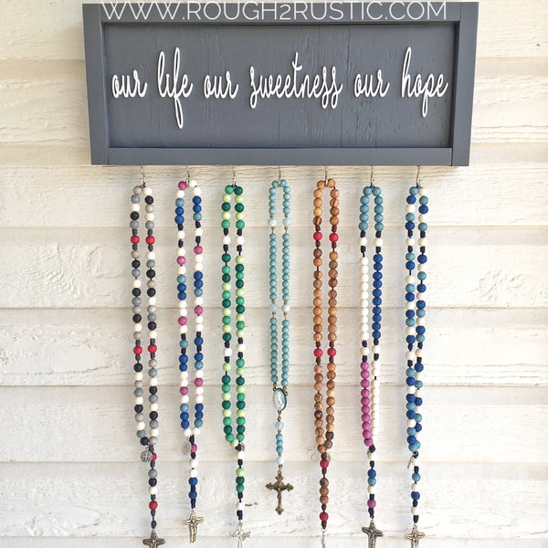 Gray/white Our Life Our Sweetness Our Hope (Hail, Holy Queen) Rosary Hanger