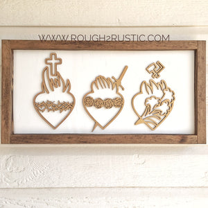 Holy Family Hearts Wall Art/Rosary Hanger - White/Gold/Brown