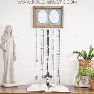 Blue/White/Brown Miraculous Medal Rosary Hanger