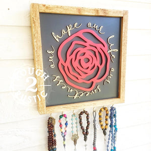 "CUSTOM ORDER for ""our life our sweetness our hope"" rose rosary hanger"