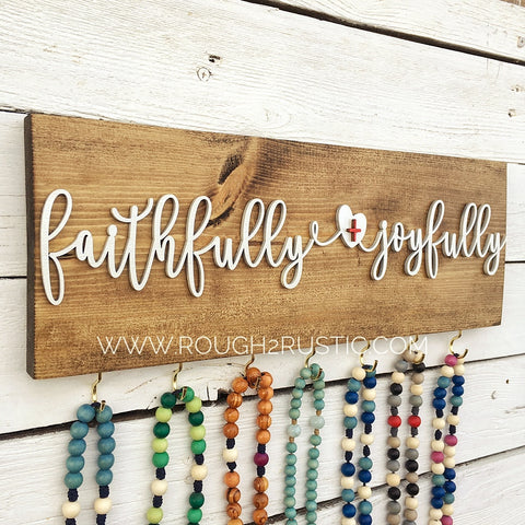 SET - faithfully + joyfully Bracelet AND Rosary Hanger - Dark Brown/White
