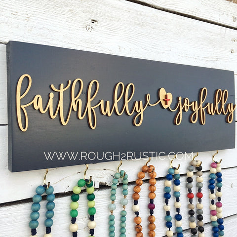 faithfully + joyfully Rosary Hanger - Dark Slate/Gold
