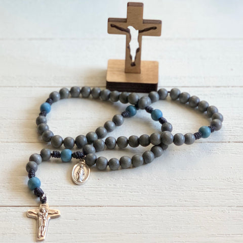 Rough 2 Rustic Wood Bead Rosary