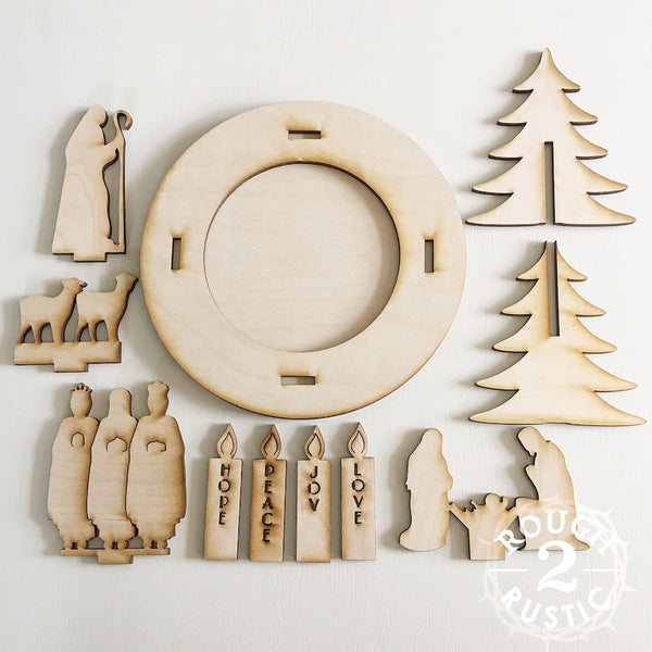 DIY FULL SET (10 pieces) Wood Advent/Nativity Wreath