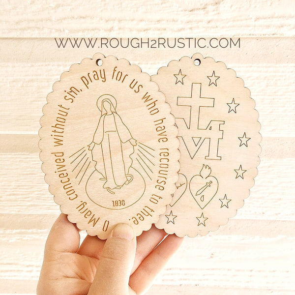 Engraved Miraculous Medal Set - Front and Back