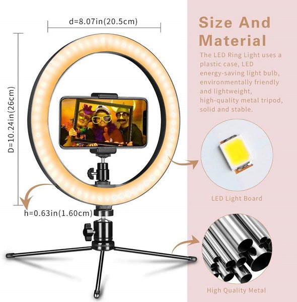 "LED Ring Light with Tripod Stand Phone Holder 10"" Selfie Ring Light Makeup Phone Ring Lamp for YouTube Video Photography"