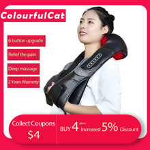 Load image into Gallery viewer, Electric Neck Roller Massager for Back Pain Shiatsu Infrared lamp Massage Pillow  Gua Sha Products Body Health Care Relaxation