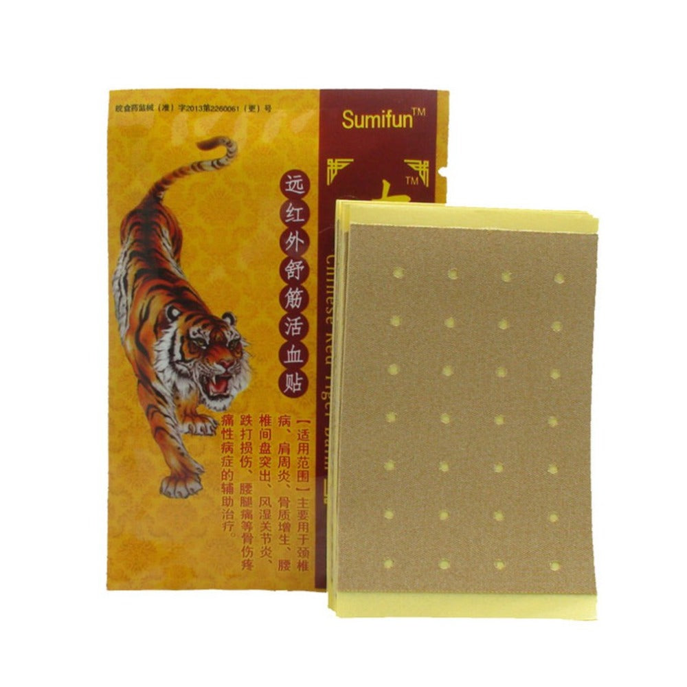 8pcs/bag Chinese Red Tiger Balm Pain Relief Medical Plaster Neck Joints Rheumatism Arthritis Pain Patch Body Massage Health Care