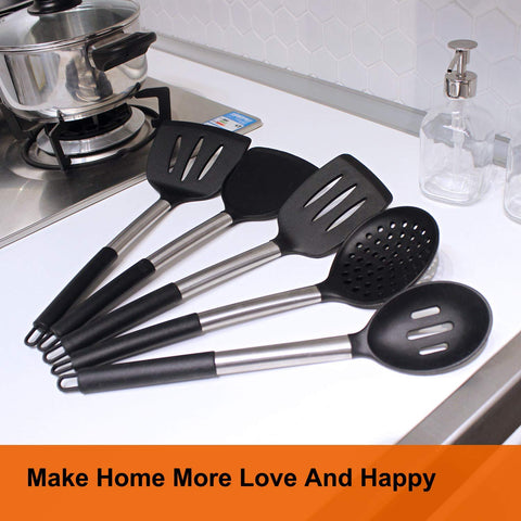 13 pcs Stainless Steals Silicon Heat Resistant and Non Stick Kitchen Utensil Black Handle