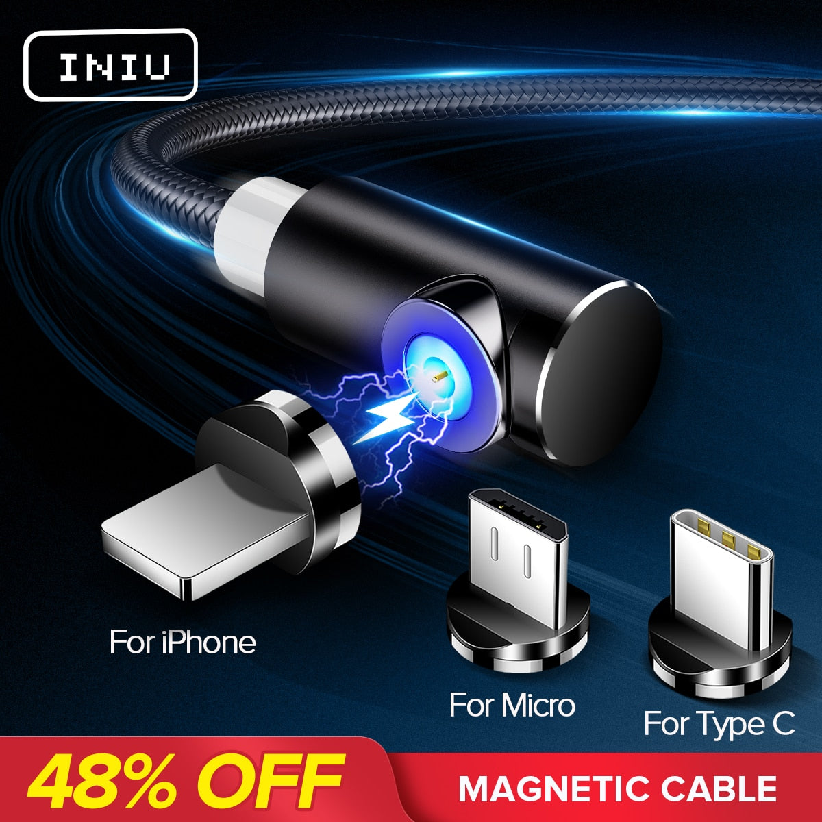 Magnetic Charging Cable for IPhone, Micro and Type-C - Purigen