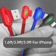 2.4amp Fast Charging Cable For IPhone - Blue, Red, Black - Purigen