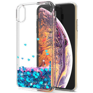 Dynamic Quicksand Liquid Case For iPhone Xs Max with Glitter Stars Hard Clear Back Cover - Purigen