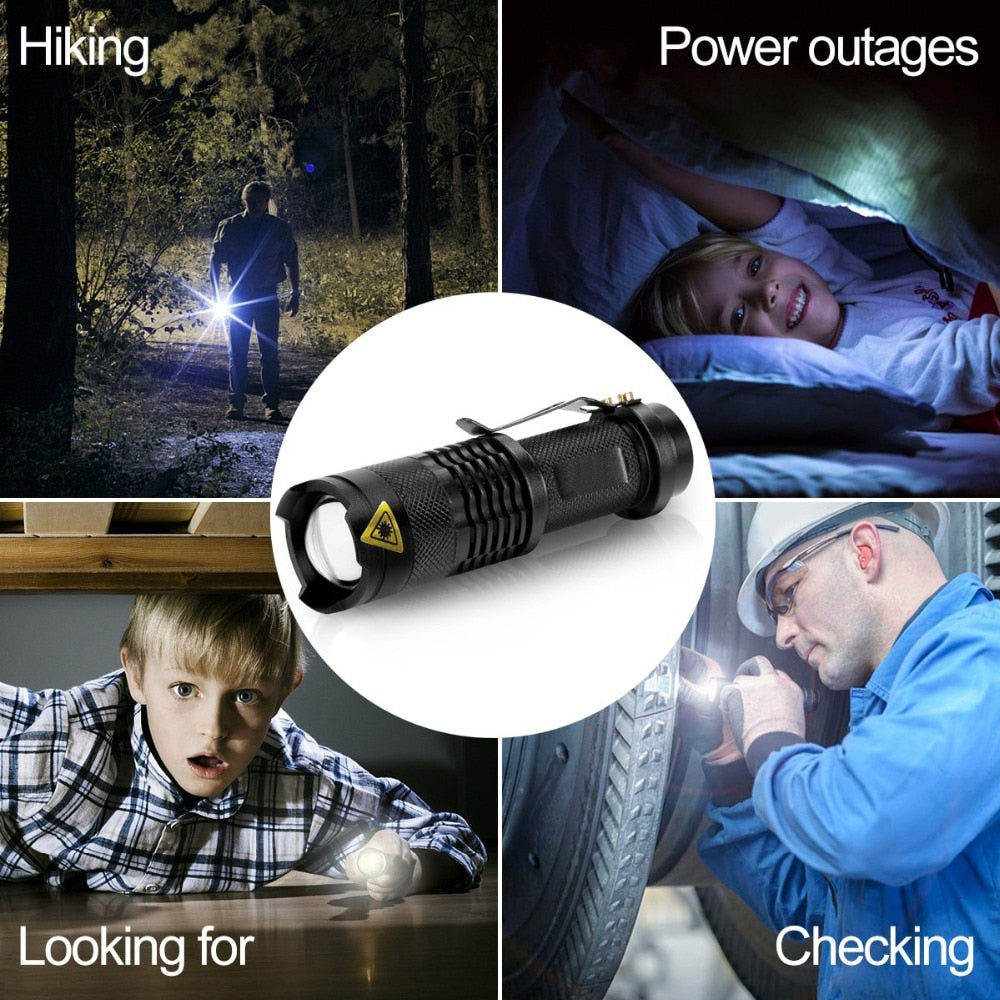 Portable Mini Black Lantern 4000LM LED Flashlight Zoom - Purigen