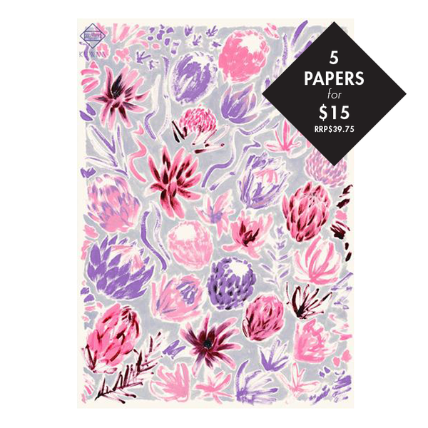 5 x 'Flower Study' Wrapping Paper - Value RRP$39.75