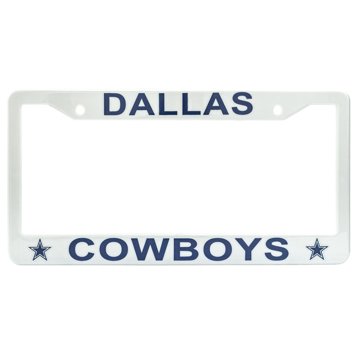 Dallas Cowboys License Plate Frame Cover - Silver - NFL Car Accessory - Slim Design