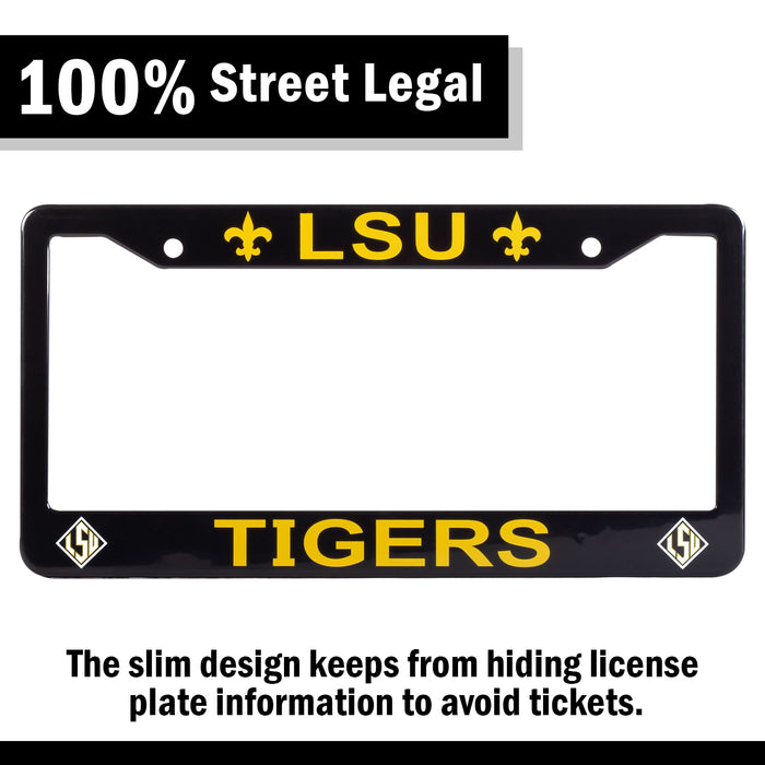 LSU Tigers Black License Plate Frame Cover