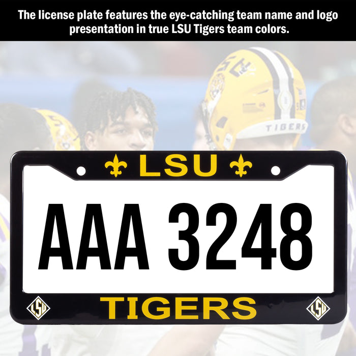 LSU Tigers Black License Plate Frame Cover | ads