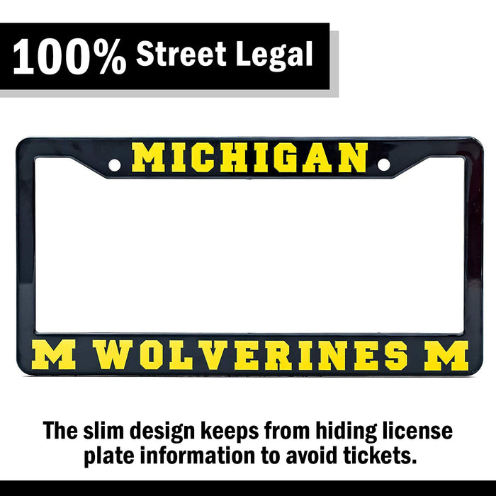 Michigan Wolverines Black License Plate Frame Cover