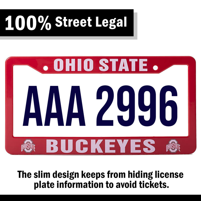 Ohio State Buckeyes Red And White License Plate Frame Cover