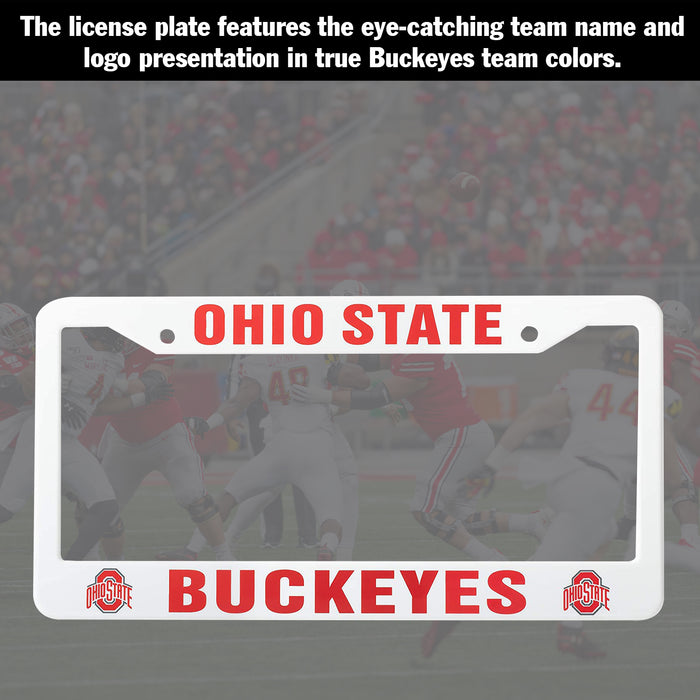 Ohio State Buckeyes White License Plate Frame Cover