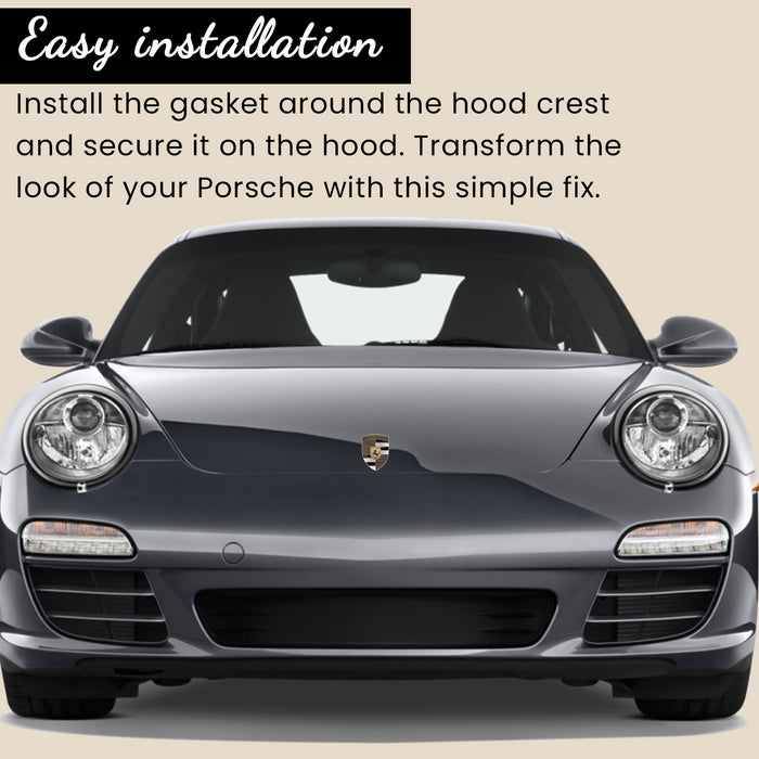 Black & Gold Metal Hood Crest For Porsche 911, 944, Cayenne, Turbo, Boxster