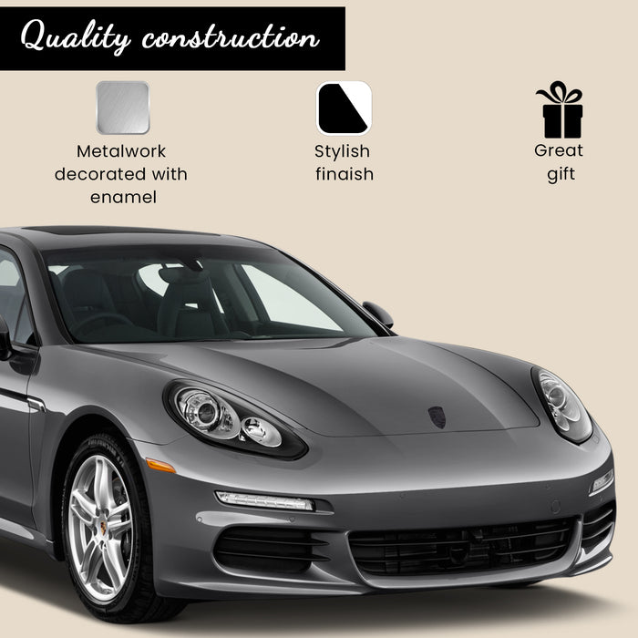 Black Metal Hood Crest For Porsche 911, 944, Cayenne, Turbo, Boxster