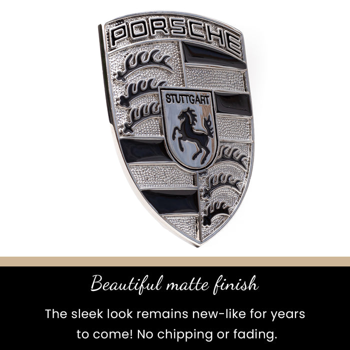 Silver & Black Metal Hood Crest For Porsche 911, 944, Cayenne, Turbo, Boxster