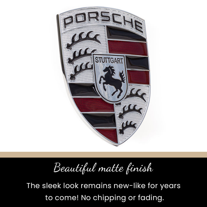 Silver & Red Metal Hood Crest For Porsche 911, 944, Cayenne, Turbo, Boxster