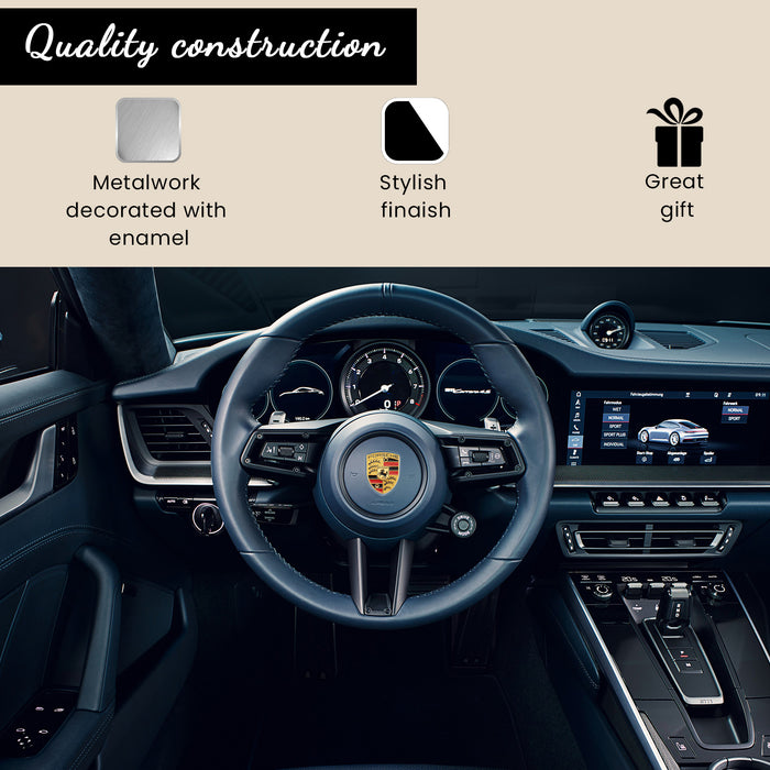 Gold Steering Wheel Metal Crest For Porsche 911, 944, Cayenne, Turbo, Boxster