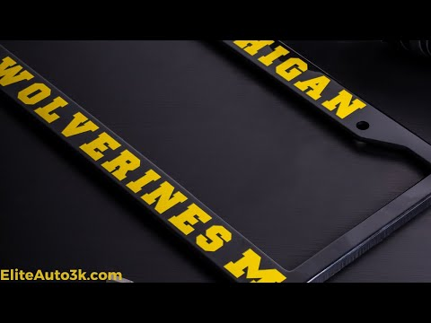 Michigan Wolverines Black License Plate Frame - NCAA Car Accessory - Slim Design