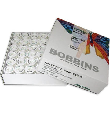 Madeira ELITE GOLD Paper Sided Bobbins 144/Box White or Black
