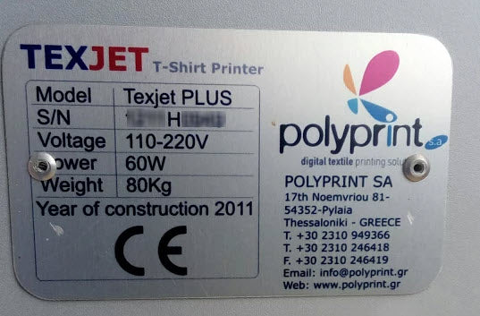 texjet plus printer serial number
